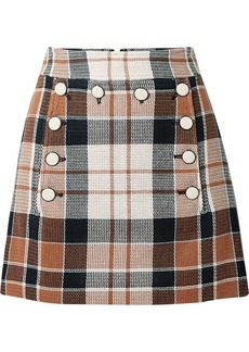 Veronica Beard Ording Button-detailed Checked Cotton And Flax-blend Mini Skirt