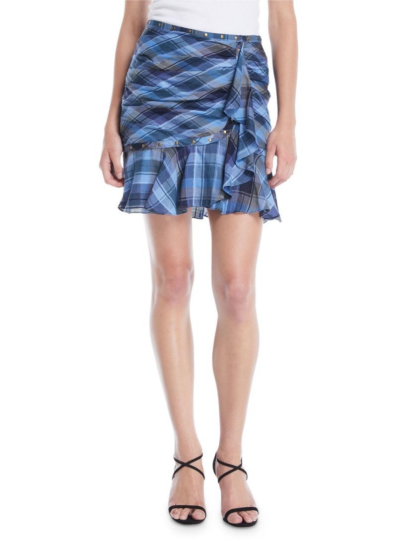 Veronica Beard Parris Plaid Ruffle Tulip Skirt