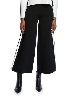 Veronica Beard Roland Cropped Sporty Wide-Leg Pants