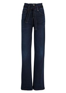 Veronica Beard Rosanna Corset Wide-Leg Jeans