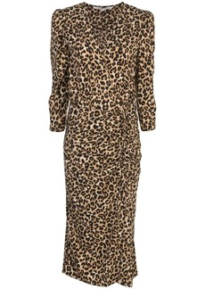 Veronica Beard ruched leopard print dress