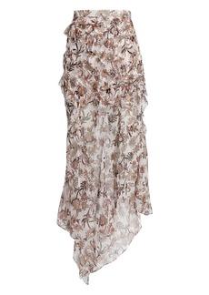 Veronica Beard Ruffled Silk Floral Maxi Skirt