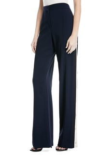 Veronica Beard Russo High-Waist Side-Snap Wide-Leg Trousers