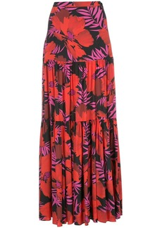 Veronica Beard Serence Poppy-print maxi skirt