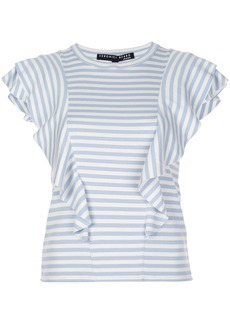 Veronica Beard striped-print ruffled T-shirt