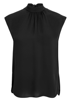 Veronica Beard Tristen Mock Neck Tie Blouse