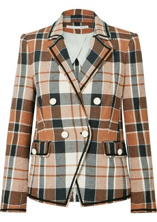 Veronica Beard Utah Double-breasted Checked Cotton And Linen-blend Blazer