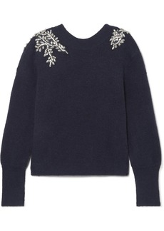 Veronica Beard Valerie Crystal-embellished Knitted Sweater