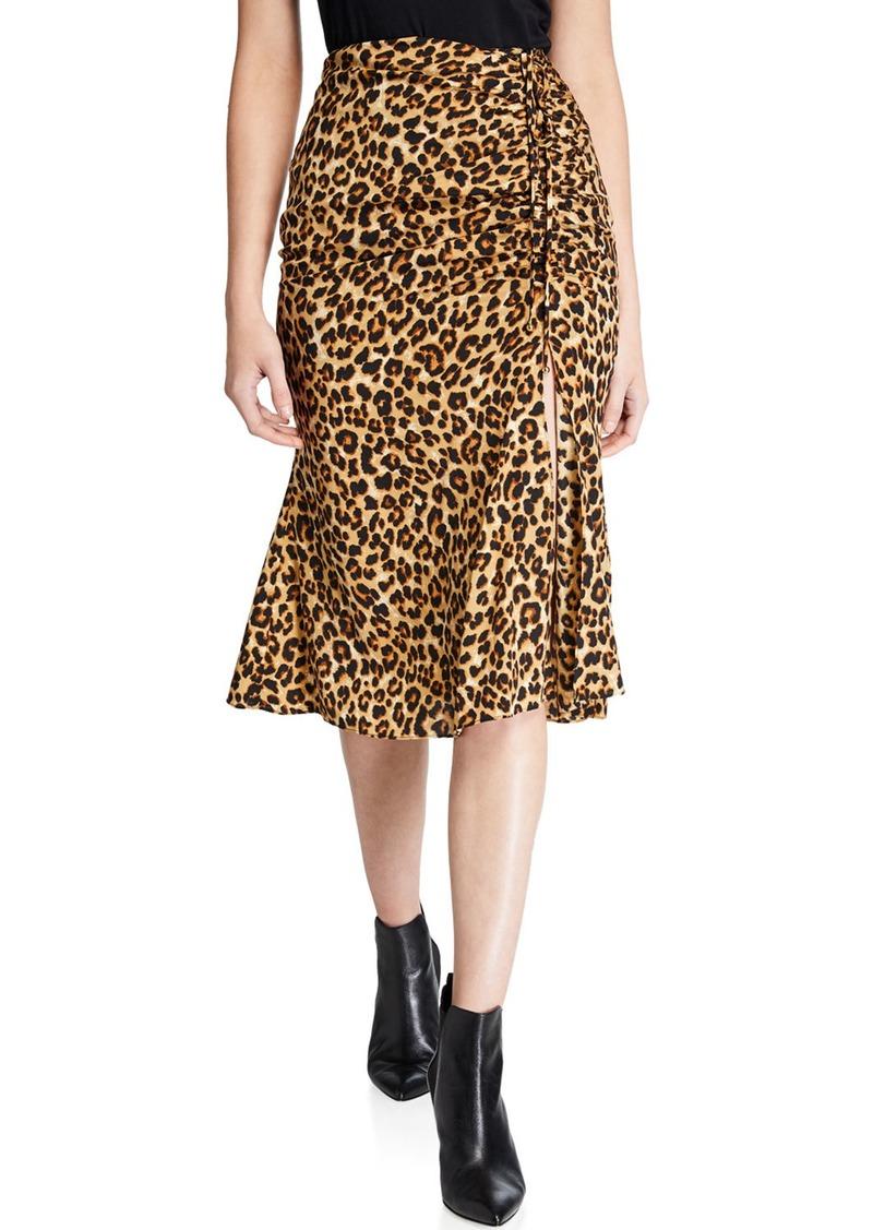 Veronica Beard Vanity Leopard Slit Skirt