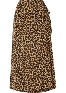 Veronica Beard Vanity Ruched Leopard-print Stretch-silk Midi Skirt