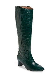 Veronica Beard Abella Croc Embossed Knee High Boot (Women