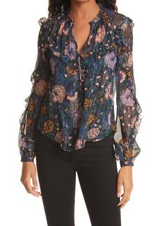 Veronica Beard Abra Floral Print Silk Blouse