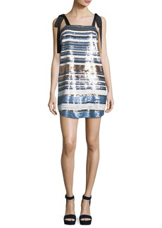 Veronica Beard Abril Striped Sequin Cocktail Dress w/ Ribbon Ties