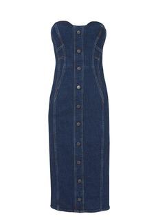 Veronica Beard Liza Strapless Denim Midi Dress