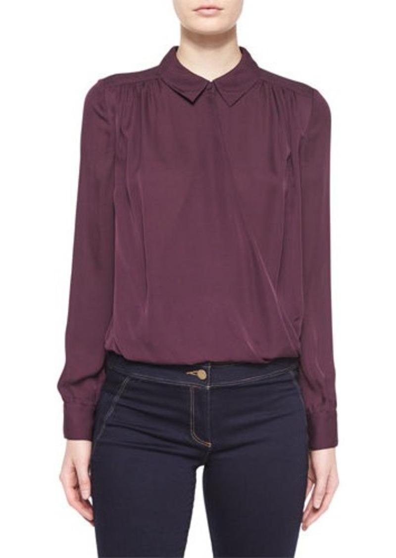 Veronica Beard Adams Silk Collared Shirt