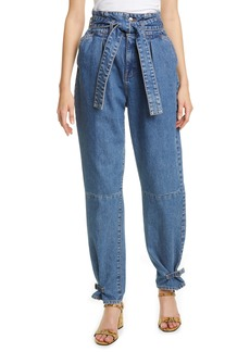 Veronica Beard Addie Paperbag Waist Tapered Jeans (Beacon)