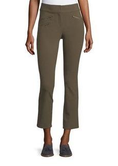 Veronica Beard Adelaide Zipper-Pocket Skinny Straight-Leg Pants