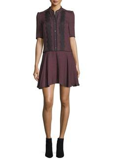 Veronica Beard Alana Button-Front Printed Silk Dress w/ Lace