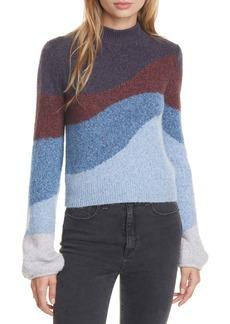 Veronica Beard Alexey Stripe Mock Neck Sweater