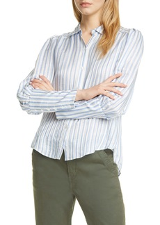 Veronica Beard Ally Stripe Linen & Silk Blend High/Low Shirt