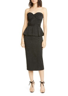 Veronica Beard Allyson Strapless Peplum Midi Dress