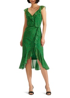 Veronica Beard Amal Ruffle Trim Silk Dress