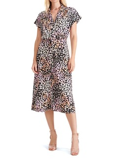 Veronica Beard Amani Leopard Print Stretch Silk Midi Shirtdress