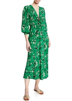 Veronica Beard Amber Long-Sleeve Floral Tie-Front Midi Dress