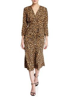 Veronica Beard Arielle Leopard-Print V-Neck Dress