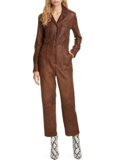 Veronica Beard Artemis Leather Utility Jumpsuit