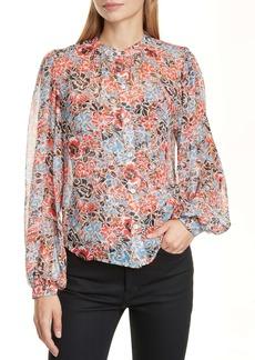 Veronica Beard Ashlynn Floral Print Silk Blouse