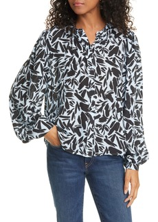 Veronica Beard Ashlynn Graphic Silk Blend Blouse