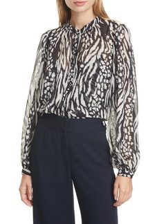 Veronica Beard Ashlynn Stripe & Spot Print Silk Blouse