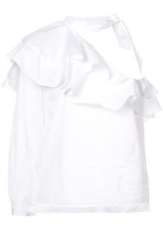 Veronica Beard asymmetric frill-trim blouse - White