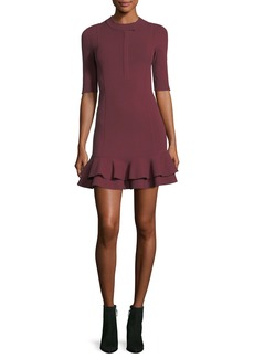 Veronica Beard Aubrey High-Neck Fitted Mini Dress w/ Tiered Hem