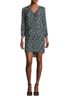 Veronica Beard August Pintucked Floral Silk Boho Dress