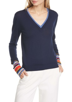 Veronica Beard Avory Contrast Cuff Merino Wool Blend Sweater