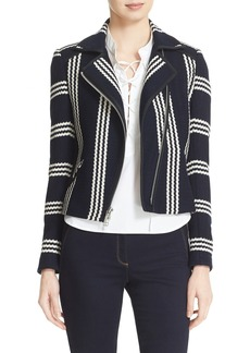 Veronica Beard Bailey Stripe Knit Moto Jacket