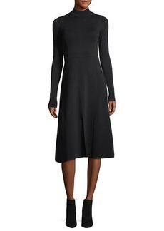 Veronica Beard Beau Crewneck Long-Sleeves Paneled A-Line Midi Dress