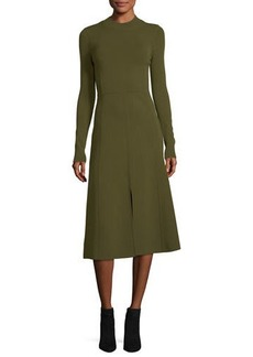 Veronica Beard Beau Crewneck Long-Sleeves Paneled A-Line Midi Dress