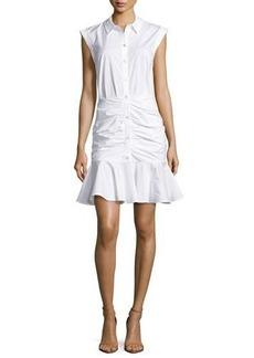 Veronica Beard Bell Sleeveless Ruched Stretch Poplin Dress
