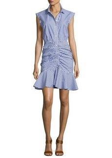 Veronica Beard Bell Sleeveless Striped Flounce Dress