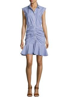 Veronica Beard Bell Sleeveless Striped Flounce Dress  Blue/White