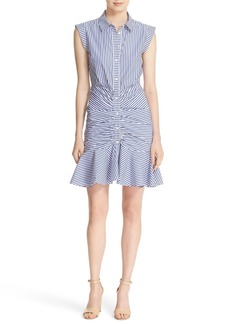 Veronica Beard Bell Stripe Ruched Shirtdress