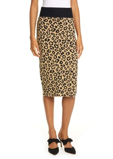 Veronica Beard Bethel Leopard Jacquard Wool Pencil Skirt
