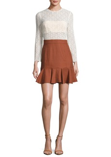 Veronica Beard Bex Lace & Gabardine Flounce Dress