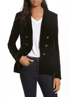 Veronica Beard Briar Velvet Double-Breasted Blazer