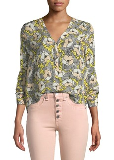 Veronica Beard Briley Printed Button-Down Long-Sleeve Blouse