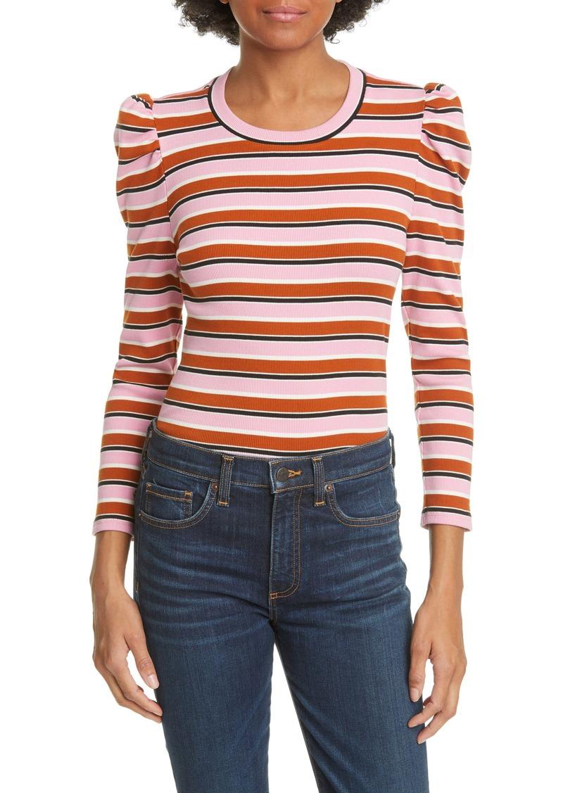 Veronica Beard Britney Puff Shoulder Stripe Top
