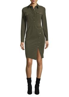 Veronica Beard Britton Long-Sleeve Corduroy Shirtdress w/ Button Details